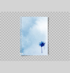 sheet paper with watercolor blots ink stain vector image