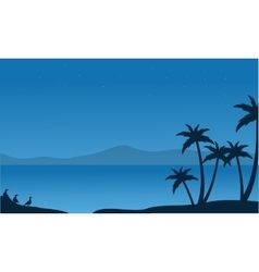 Silhouette of beach with mountain backgrounds vector image