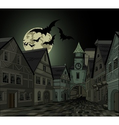 Spooky night at town vector image