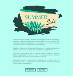 summer sale emblem with exotic tree leaf on stroke vector image