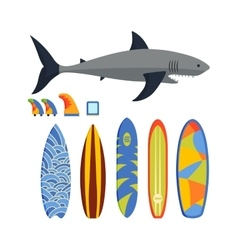 Surfing boards and shark vector