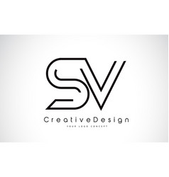 Sv s v letter logo design in black colors vector