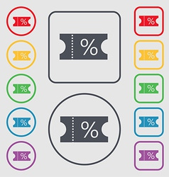 Ticket discount icon sign symbol on the Round and vector