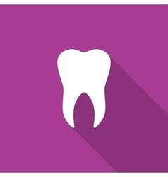 Tooth icon with long shadow vector image