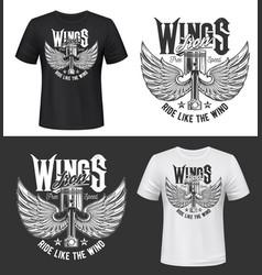 tshirt print with winged car engine valve mockup vector image