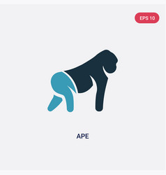 two color ape icon from animals concept isolated vector image