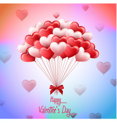 valentines day with bunch pink and red heart b vector image