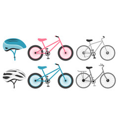 various bicycles and helmets icons in set vector image