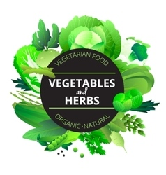 Vegetables Herbs Round Green Frame vector