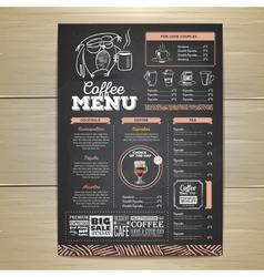 Vintage chalk drawing coffee menu design vector image