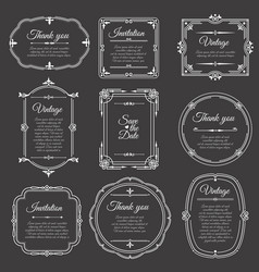 vintage frame on chalkboard romantic beautiful vector image