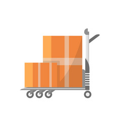 warehouse cart with cardboard boxes icon vector image