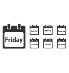Week day icon set monochrome vector image
