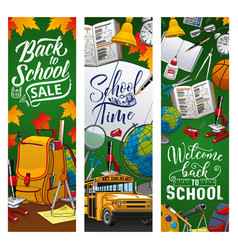 welcome back to school education supplies sale vector image