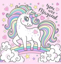 white cartoon unicorn with a rainbow mane vector image