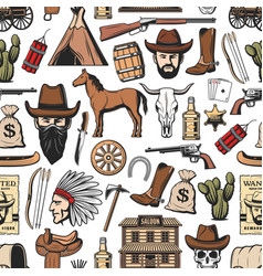 wild west cowboy sheriff indian western pattern vector image