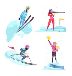 Winter sports concept icons set vector