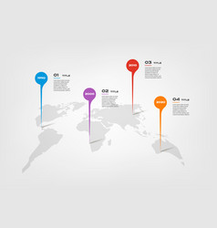 World map color infographics step by step in a vector