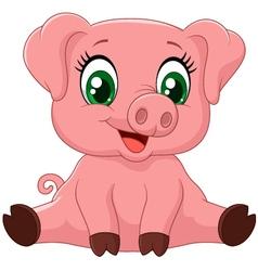 Cartoon adorable baby pig vector image vector image