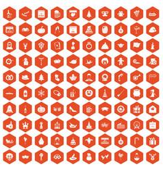 100 holidays icons hexagon orange vector image