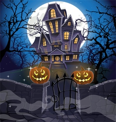 Happy Halloween cozy haunted house behind a wall vector image vector image