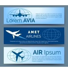 Airlines company headers set vector