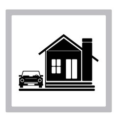Beauty Home with Car Icon vector image