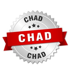 Chad round silver badge with red ribbon vector image vector image