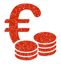 euro coins icon grunge watermark vector image vector image