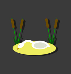 flat icon design collection swan in the reeds in vector image vector image