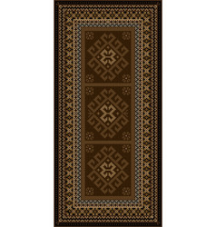 vintage carpet with ethnic ornaments in brown shad vector image