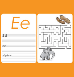 alphabet a-z - puzzle worksheet - cute elephant vector image