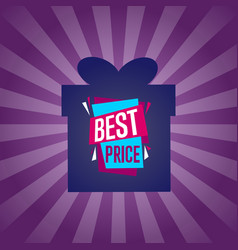 best price sticker on box silhouette vector image