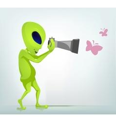 Cartoon Photographer Alien vector image