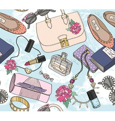 Cute seamless fashion pattern for girls or woman vector image