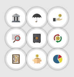 Flat icon incoming set of bank strongbox counter vector