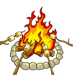marshmallow on bonfire pop art vector image vector image