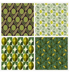 Olive Set of seamless backgrounds vector image vector image