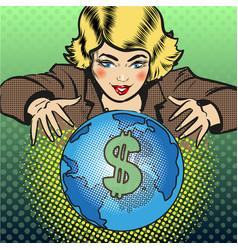Pop art global business concept vector
