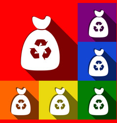 trash bag icon set of icons with flat vector image