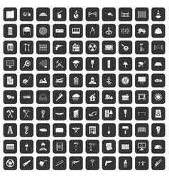 100 building materials icons set black vector