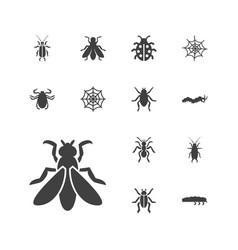 13 bug icons vector