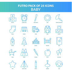 25 green and blue futuro baby icon pack vector image
