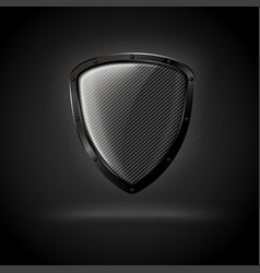 3d realistic luxury dark carbon shield vector image