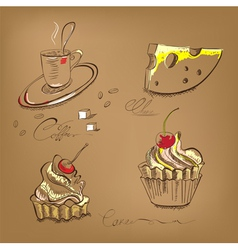 A cup of coffee cupcake and cheese vector