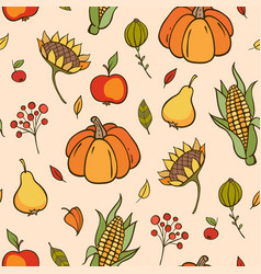 autumn doodle seamless pattern vector image