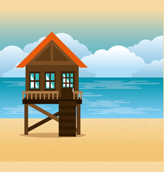 Beach with lifeguard tower scene vector