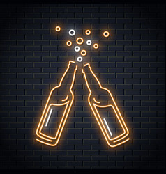 beer bottle neon sign beer splash neon design vector image