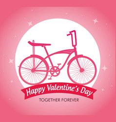 Bicycle vehicle to celebrate valentine day vector