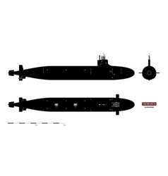 black silhouette submarine military ship vector image